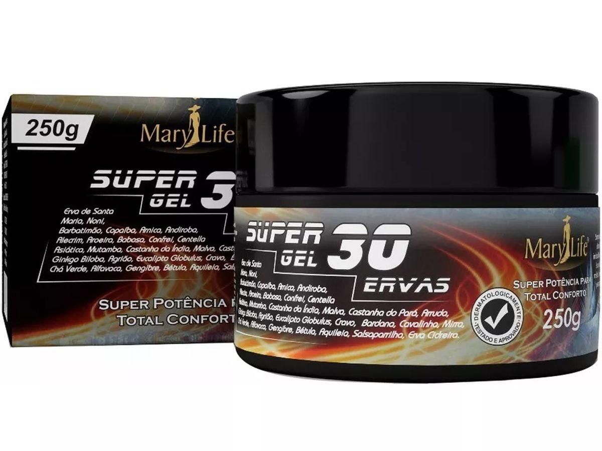 Kit 6 Super Gel 30 Ervas Massageador Efeito Gelo Quente Mary Life 250g