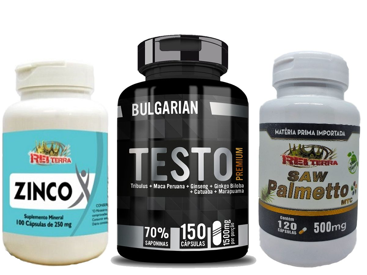 Kit Estimulante Sexual - Testo Premium + Saw Palmetto + Zinco