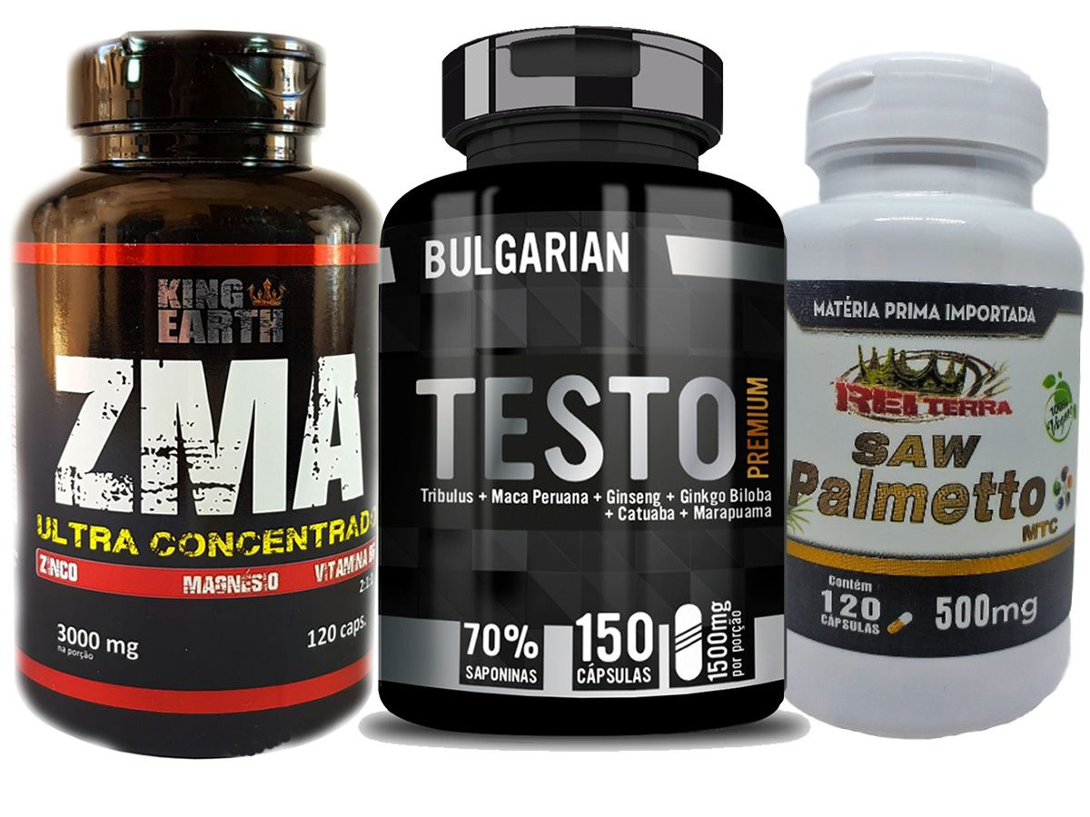Kit Estimulante Sexual - Testo Premium + Saw Palmetto + Zinco + Magnésio
