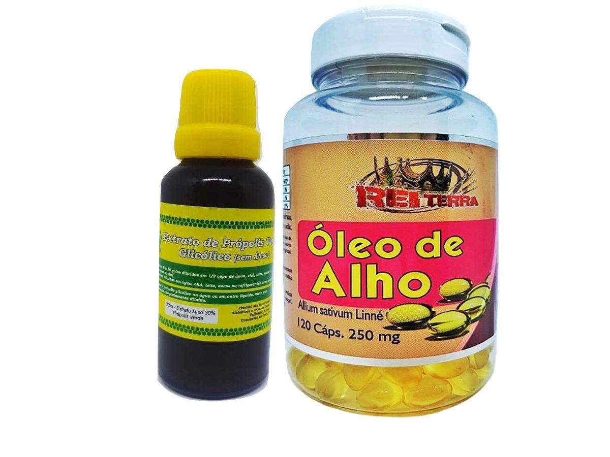 Kit Imunidade Extrato De Própolis 30ml + Óleo de Alho 120 Cápsulas 500mg