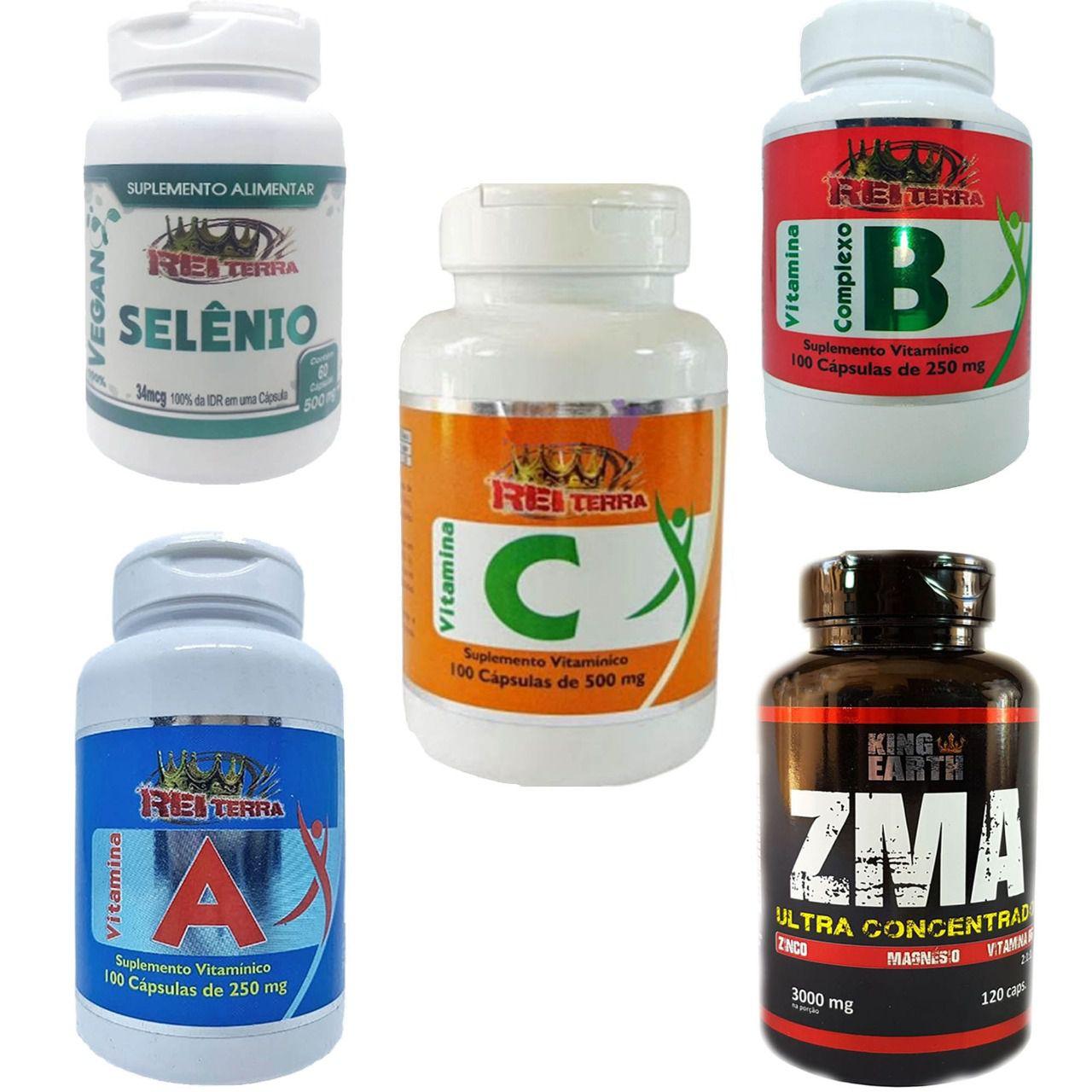 Kit Imunidade Selênio + Vitamina A + Vitamina C + Complexo B + Zma