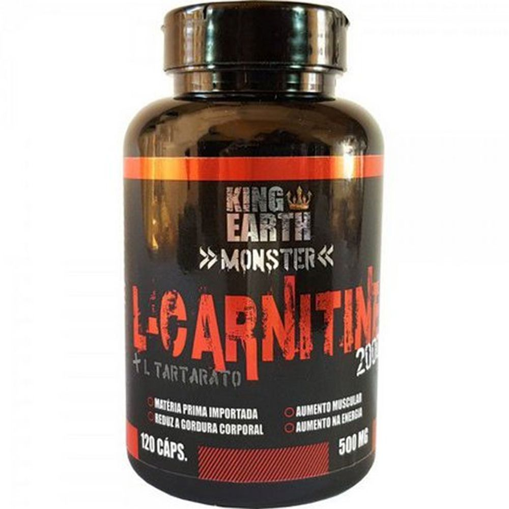 L Carnitina + L Tartarato 120 Cápsulas 500mg - King Earth