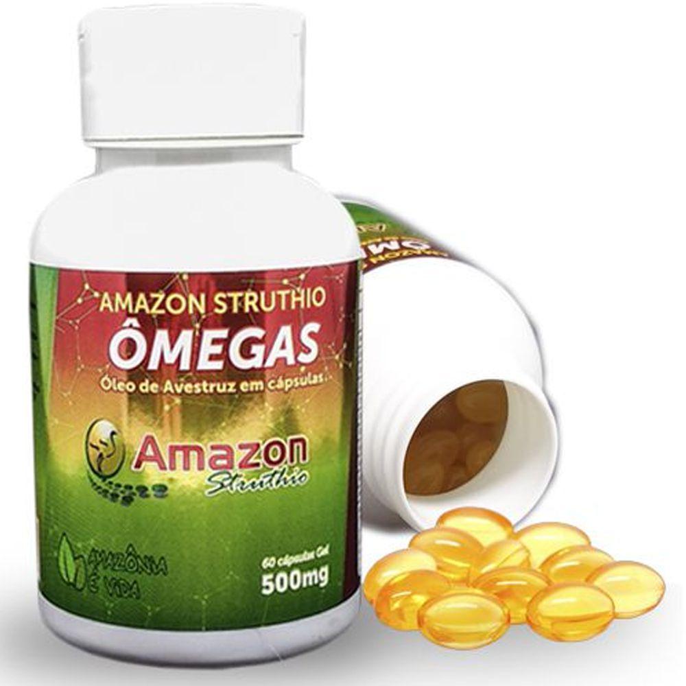 Óleo de Avestruz Ômegas 3,6,9 Vitaminas A,D,E 60 Cáps Amazon Struthio