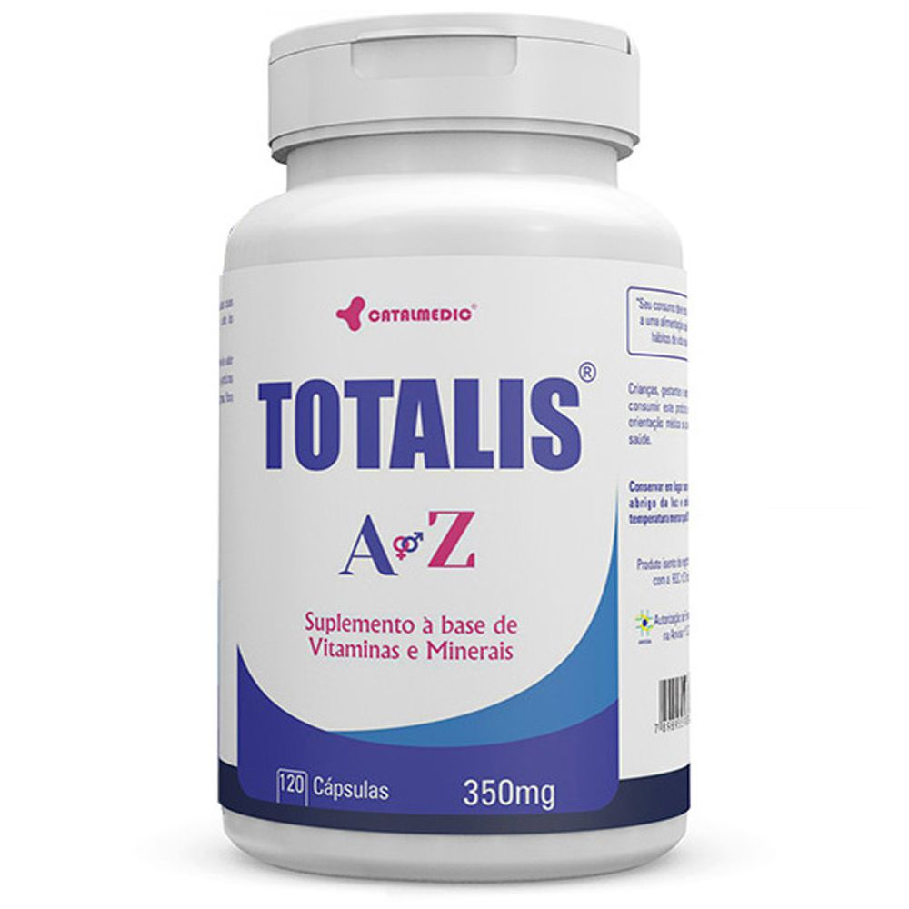 Totalis A a Z (Multivitaminico) 120 Cápsulas 350mg - Catalmedic