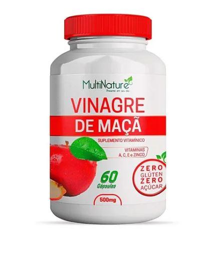 Vinagre De Maçã + Vitaminas A, C, E, Zinco 60 Cápsulas 500mg