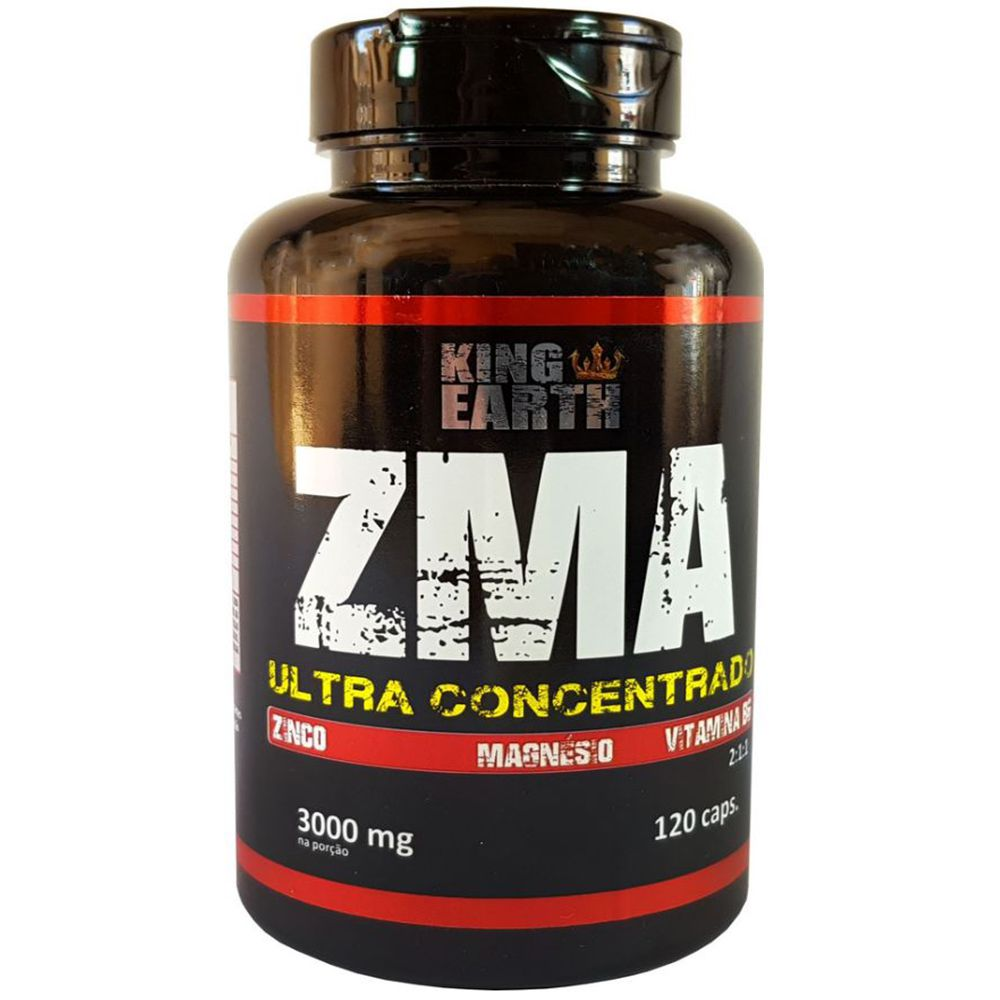 ZMA Ultra Concentrado Zinco, Magnésio e Vitamina B6 120 Cáps 3000mg. - King Earth