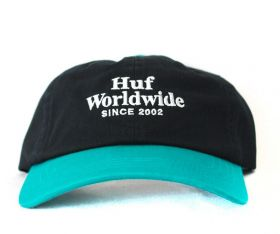 Boné Dad Hat Strapback Huf WorldWide CV 6 Preto