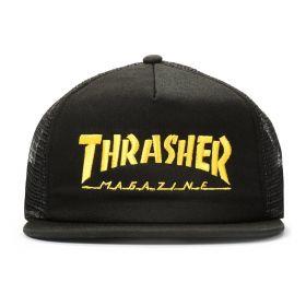 Boné Trucker Thrasher Mag Logo Mesh Preto x Amarelo