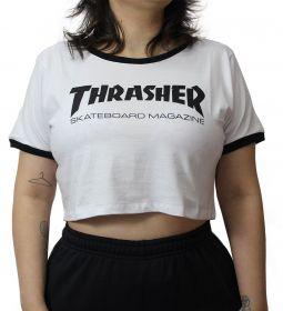 Camiseta Cropped Thrasher Skate Mag Branca