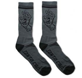 Meia Cano Longo Santa Cruz Hand Sock Cinza