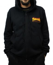 Moletom Aberto Thrasher Flame Bottom Preto