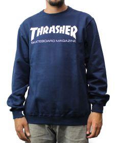 Moletom careca Thrasher Skate Mag Azul Marinho