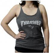 Regata Feminina Thrasher Mag Logo Cinza Chumbo