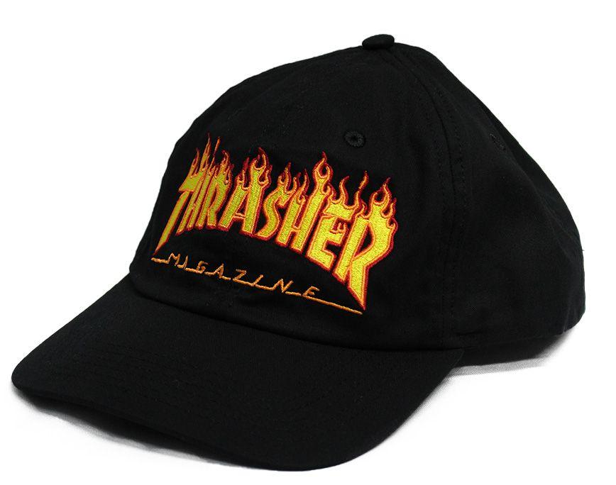 Boné Dad Hat Thrasher Flame Preto