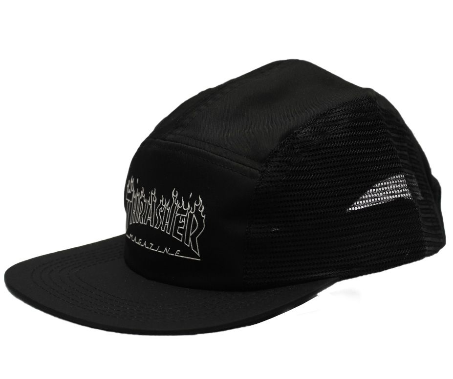 Boné Five Panel Thrasher Flame Outline Preto