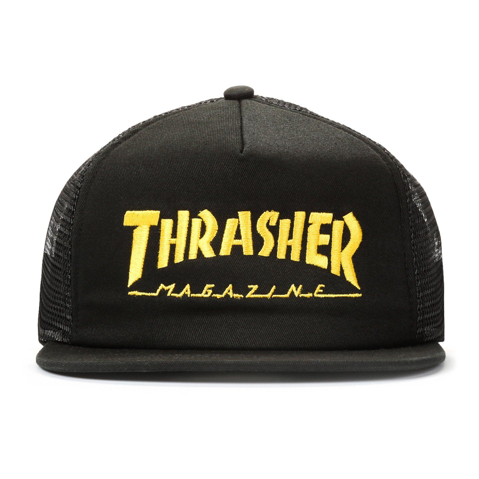 Boné Trucker Thrasher Mag Logo Mesh Preto x Amarelo - PMA Skateshop ... e6a4fa310f4