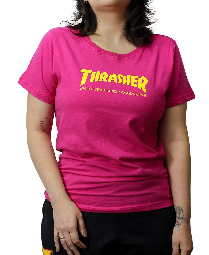 Camiseta Baby Look Thrasher Skate Mag Pink