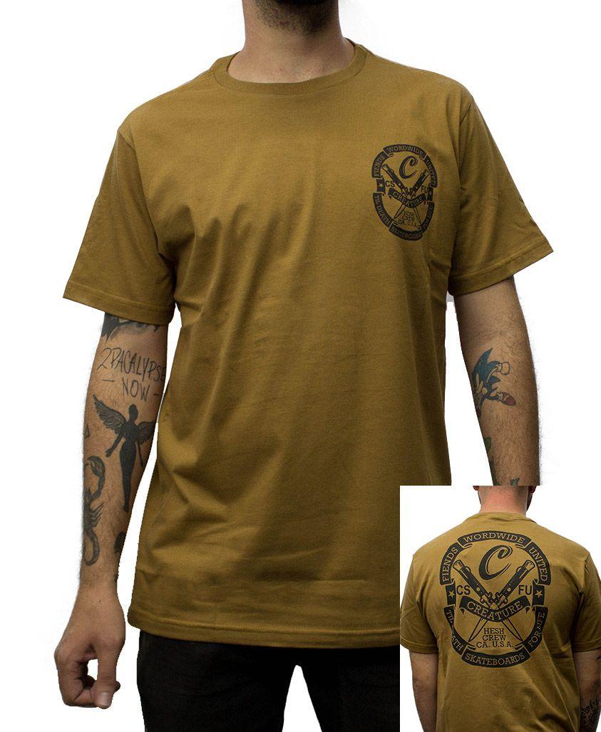 2075e5f6cf Camiseta Creature Worldwide Marrom - PMA Skateshop