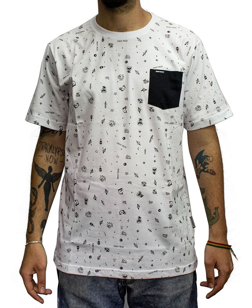Camiseta Drop Dead Especial Tattoo Pocket Branca