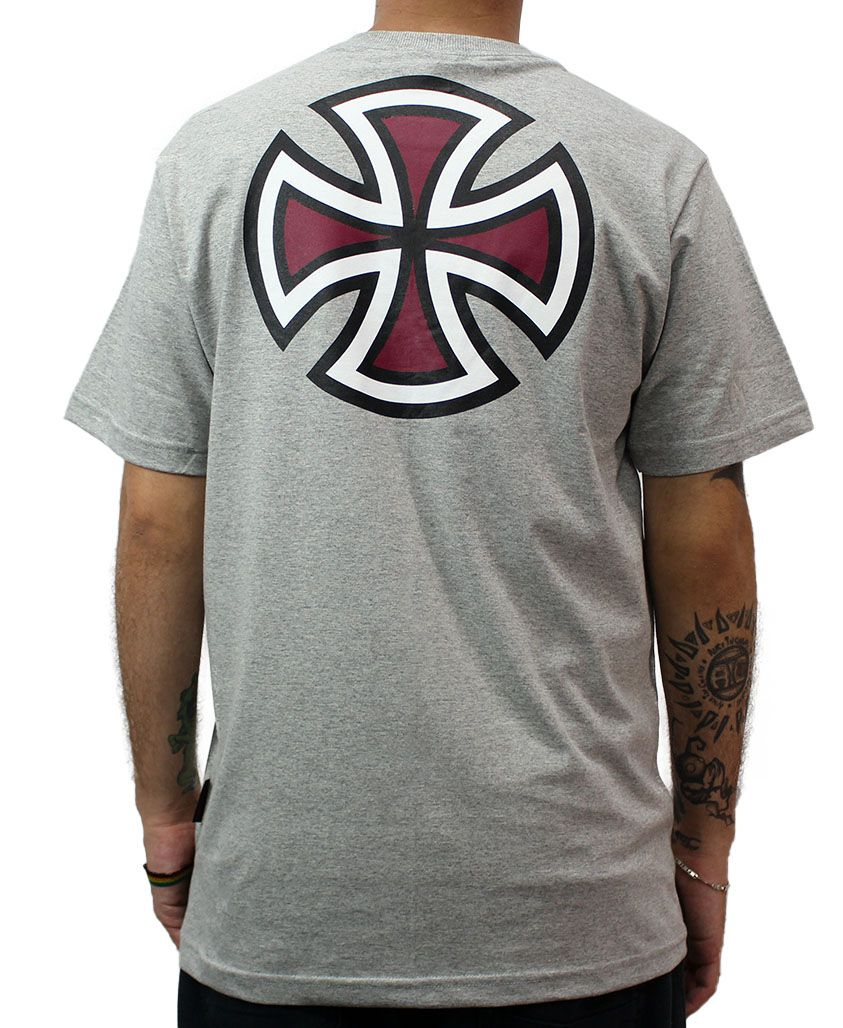 Camiseta Independent BAR Cross 3 Colors Cinza Mescla