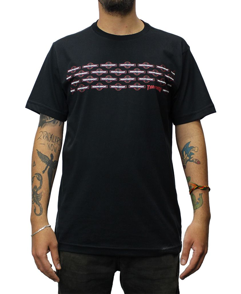 Camiseta Independent x Thrasher Pentagram Preta