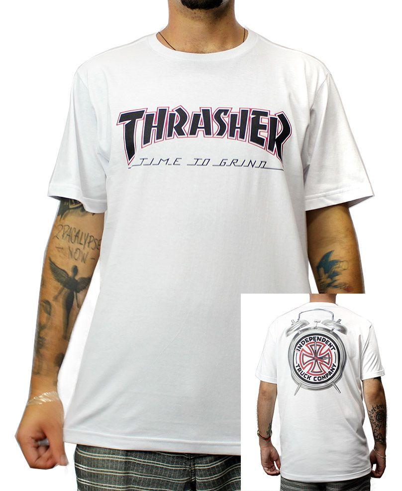 Camiseta Independent x Thrasher TTG Branca
