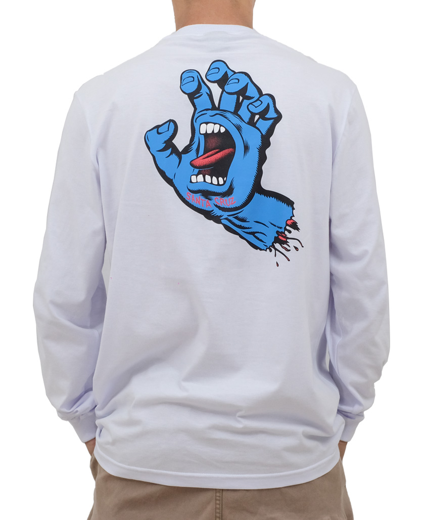 Camiseta Manga Longa Santa Cruz Screaming Hand Branca