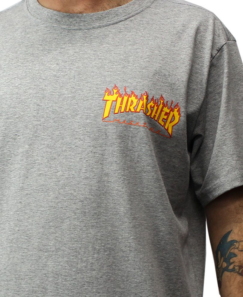 Camiseta Thrasher Magazine Flame Bottom Cinza
