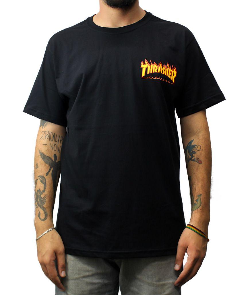 Camiseta Thrasher Magazine Flame Bottom Preta