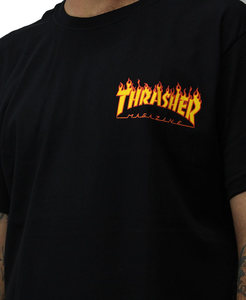 Camiseta Thrasher Magazine Flame Bottom Preta