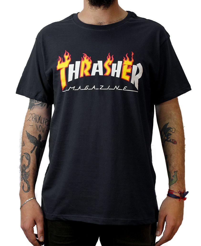 Camiseta Thrasher Magazine Flame Mag Preta