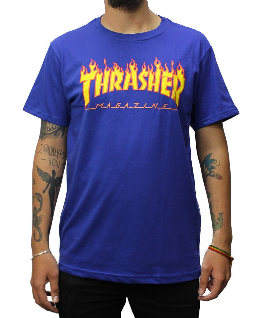 Camiseta Thrasher Magazine Flame Azul Royal