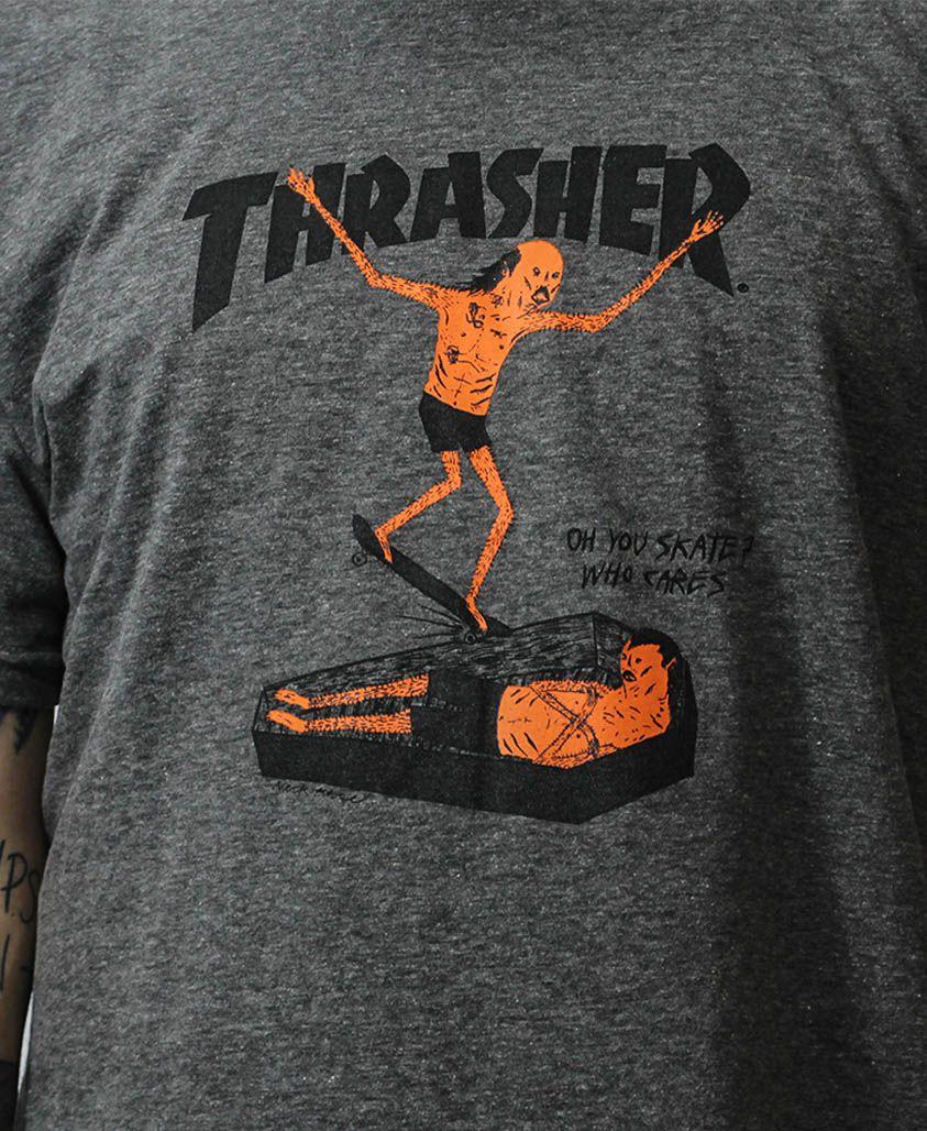 Camiseta Thrasher Magazine Neckface Cinza Mescla