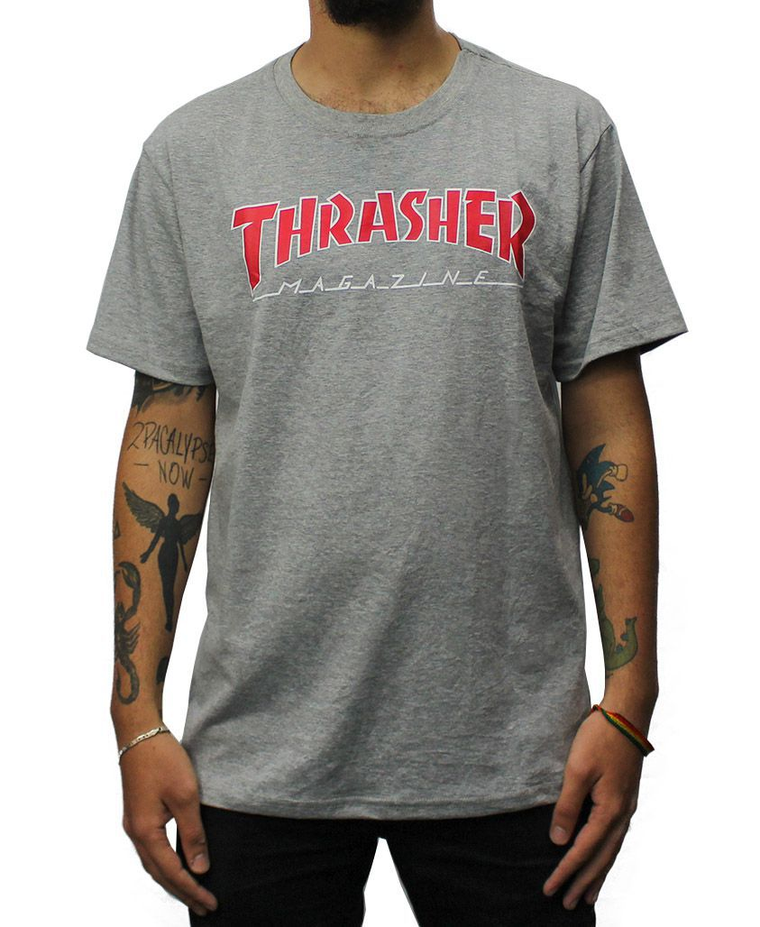 Camiseta Thrasher Magazine Outlined Cinza Mescla