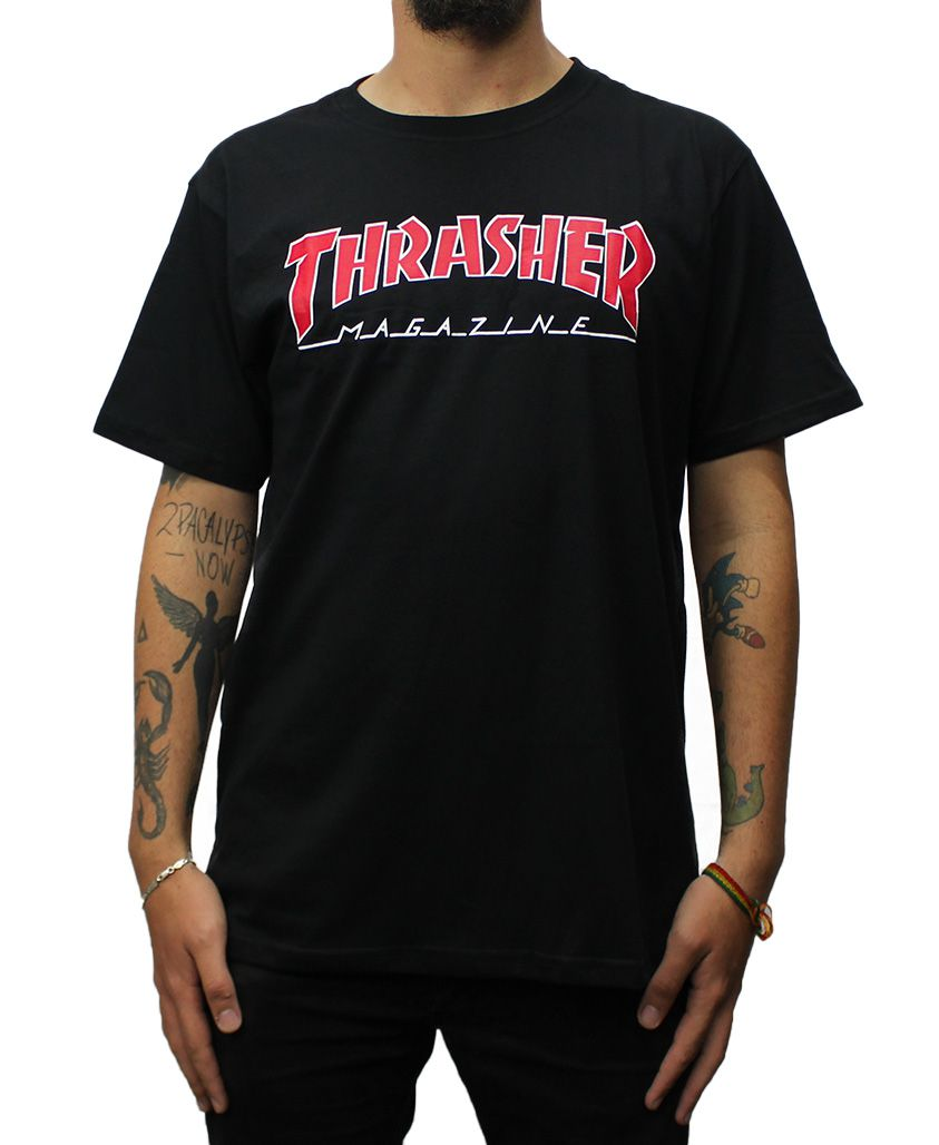 Camiseta Thrasher Magazine Outlined Preta