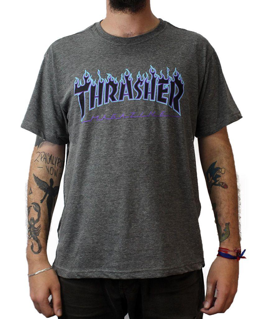 Camiseta Thrasher Magazine Purple Flame Cinza