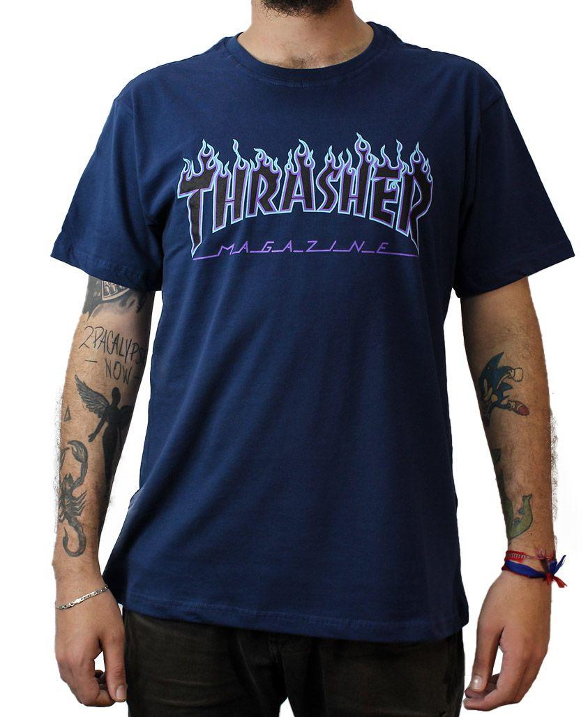 Camiseta Thrasher Magazine Purple Flame Marinho