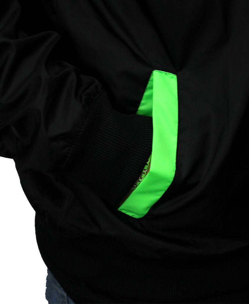 Jaqueta Corta Vento Flip Green Splash Preta Com Forro Verde Neon