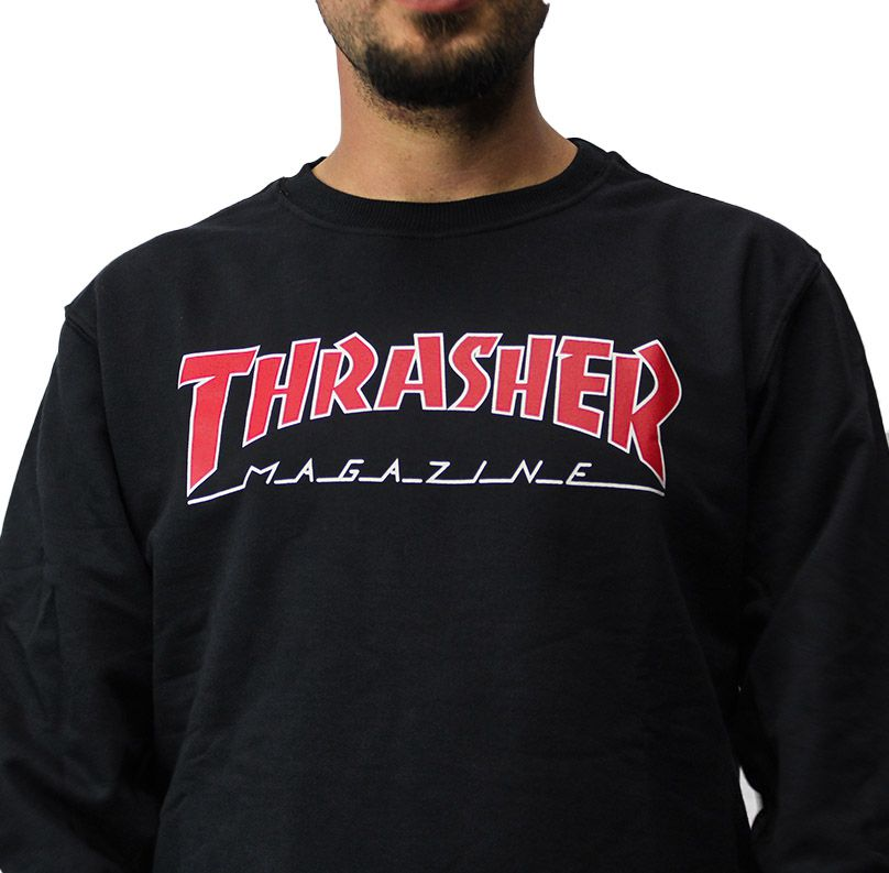 Moletom careca Thrasher Outlined Preto