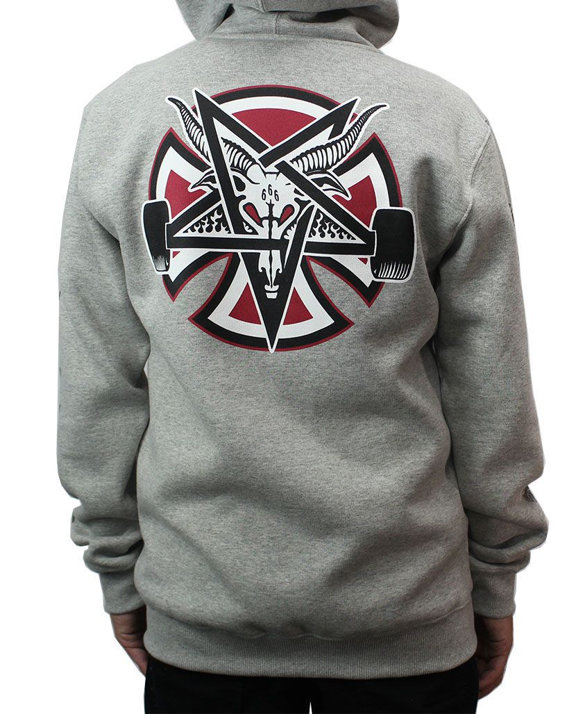 Moletom Independent x Thrasher Pentagram Cross Cinza