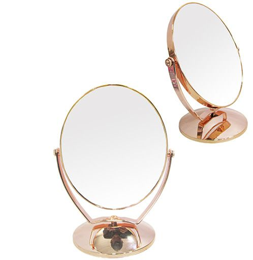Espelho de Mesa Oval Dupla Face com Pedestal de Plástico Metalizado Rose Gold