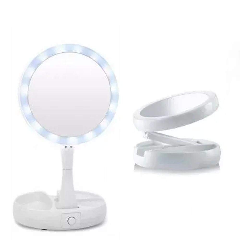 Espelho Dobrável Dupla Face Aumento 10X com Luz LED e Organizador - My Foldaway Mirror