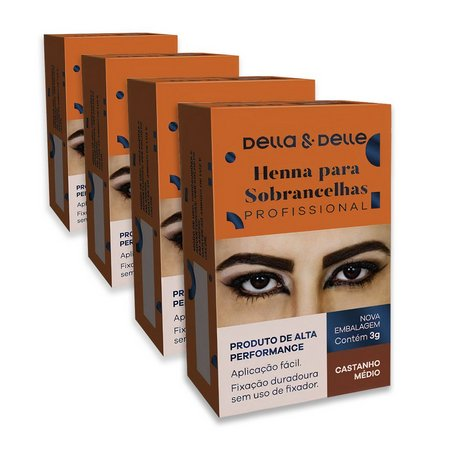 Henna em Pó 3g Castanho Médio - Della & Delle