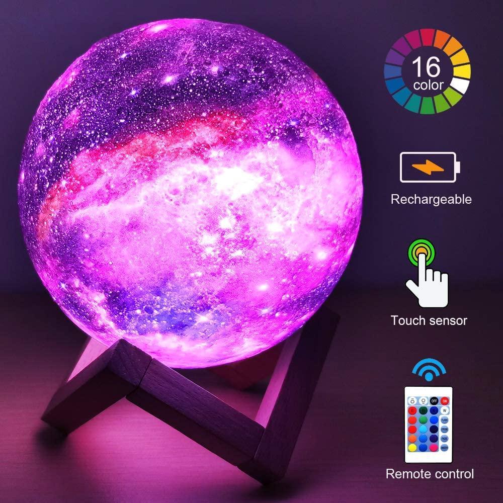 Luminária Abajur de Lua + Controle Remoto 3D Colorida USB 16 Cores