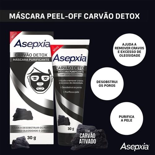 Máscara Facial de Carvão Detox - Asepxia