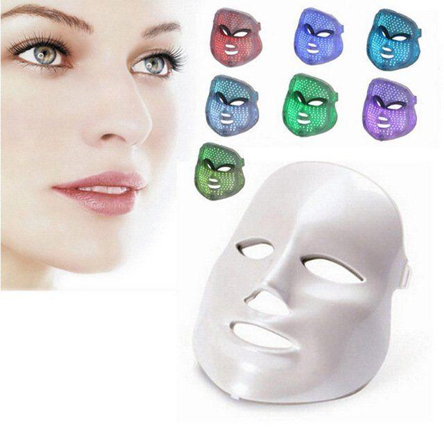 Máscara LED Facial 7 Cores - Tratamento Estético Fototerapia c/ Pescoço