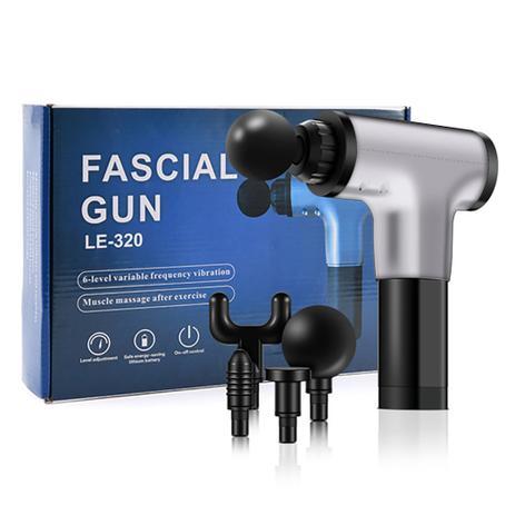 Massageador Elétrico Muscular Facial Físico 6 Níveis - Fascial Gun LE-320 Prata - Smart Bracelet