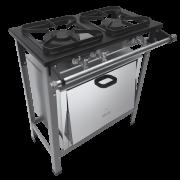 Fogão Industrial 2 bocas duplas forno grelhas 30X30 S2020 Metalmaq