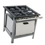 Fogão Industrial 4 bocas com forno grelhas 30X30 luxo 4 bocas duplas  Metalmaq