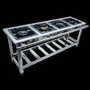Fogão Industrial 4 Bocas em Linha 40x40 Luxo Aço Inox Metalmaq